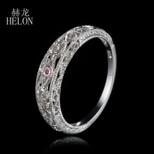 HELON Solid 10k White Gold Natural Rubies Vintage Band Filigree Art Nouveau Antique Wedding & Anniversary Women's Jewelry Ring
