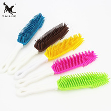 TAILUP Long Handled Pet Dog Bath Brush Cat Puppy Hair Removal Brush Rubber Pet Cleaning Supplies(China)