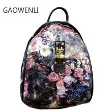 GAOWENLI Brand Ladies' Pink Flower Print National Style High Quality Women Bags Designer Waterproof Backpacks for Teenage Girls(China)