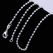 Hot Sale 925 Jewelry Cheap Wholesale Fashion Silver Plated Beads Chain Necklace For Men Women Party Brithday Bijoux Accessories