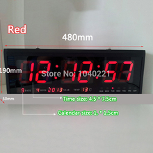Modern Design Aluminum Large Digital LED Wall Clock Home Decoration BLUE / RED / GREEN Free Shipping(China)