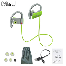 Buy M&J Bluetooth Headphones Headset In-Ear Wireless Sport Earphones Soft Silicone Earhooks Noise Cancelling Stereo Headset Mic for $11.39 in AliExpress store