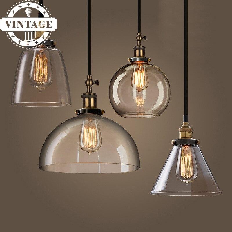 E27 220V Light Bulbs Copper Modern Hanging Lamps  New Antique Clear Glass Pendant Light For Home Decor Restaurant<br>