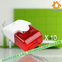 10pcs/lot of Hot Sale Wired Indoor Siren Wired Mini Siren with Red Flash Light for House Alarm System