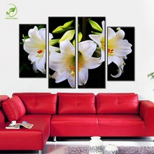 Modular Board Flowers Canvas Print Oil Paint Modern 4pcs White Lily Flower Framed Pictures For Living Room Decor Wall Art Poster