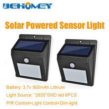 2Pcs Behomey 6 LEDs Outdoor Lighting PIR Motion Sensor Solar Light No Wiring Light Control Sensing Auto on/Off Function(China)