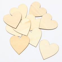 Fashion 10Pcs/set 80mm Wooden Love Heart Shape Wood Crafts Ornaments Scrapbooking Wedding Table Decoration Crafts DIY Material(China)