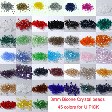 TOP quality 3mm 1000pcs AAA Bicone Upscale Austrian crystals beads loose ball supply AB color plating Jewelry Making DIY U pick(China)