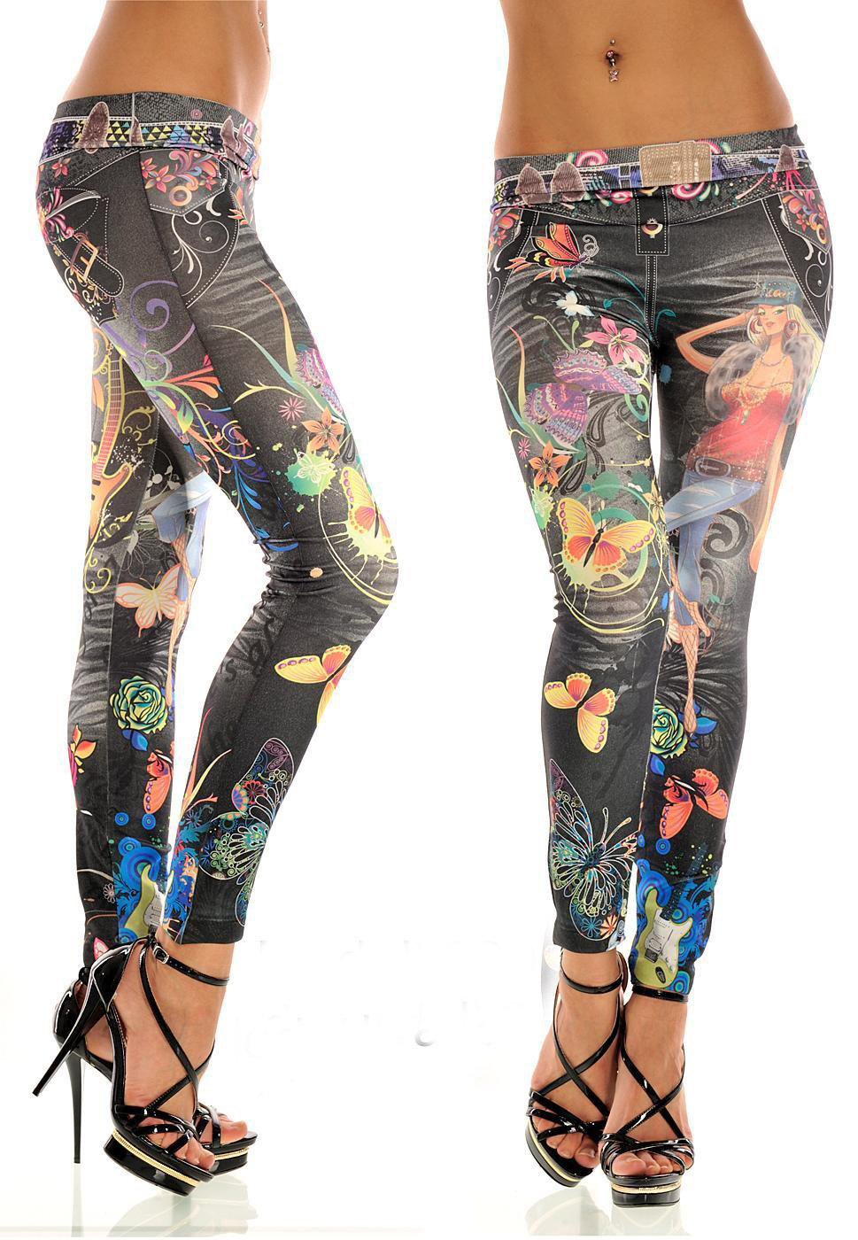 European and American Fashion Women Jeans Pants Sexy Butterfly Printing Tattoo Leggings Casual Denim Skinny Pencil TrousersОдежда и ак�е��уары<br><br><br>Aliexpress