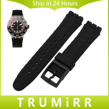 20mm 21mm Silicone Rubber Watchband for Swatch Watch Band Plastic Pin Buckle Strap Replacement Belt Wrist Bracelet Black White