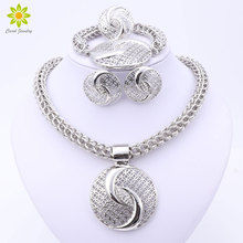2017 Latest Luxury Big Dubai Silver Plated Crystal Necklace Jewelry Sets Fashion Nigerian Wedding African Beads Costume Jewelry