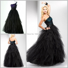 2015 Sexy Black Ball Gown One Shoulder Tiered Lace Up Tulle Formal Evening Dresses Women Dresses vestido de festa Free Shipping