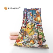 New Custom Pokemon Pikachu Cartoon Towel Printed Cotton Face/Bath Towels Microfiber Fabric For Kids Men Women Shower Towels A8.8