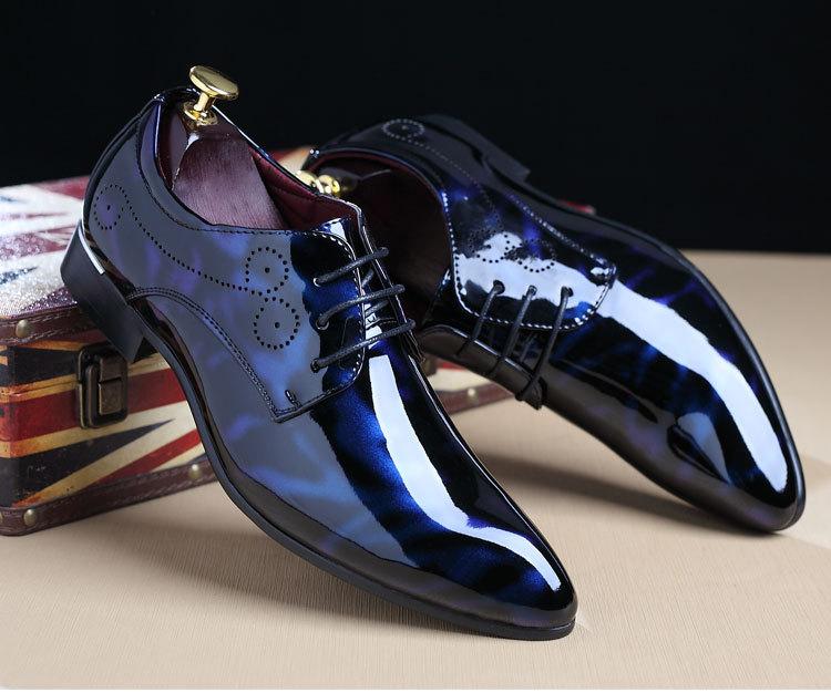 NPEZKGC Big Size 38-48 Men Shoes PU Leather Casual Shoes Fashion Lace Up Oxfrds Shoes Breathable Patent Leather Men Flat Shoes 20