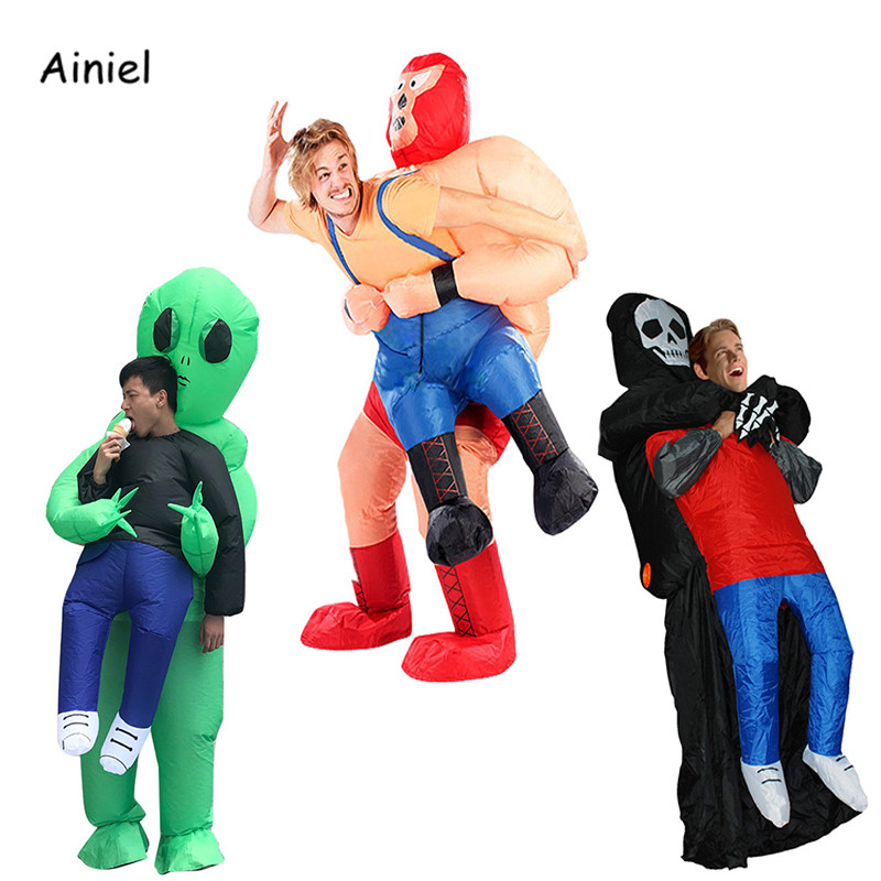 Green Alien Inflatable Costumes Cosplay Costume Fancy Dress Ride Fun Toys Halloween for Men Adult Jumpsuit Themed Costumes Women