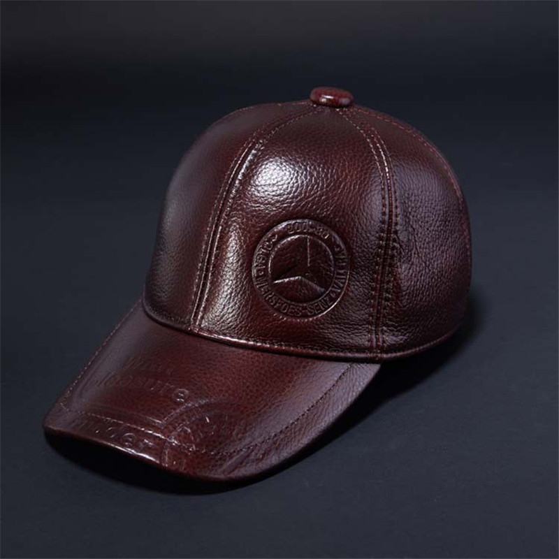 2017 Gift New Cowhide Leather Baseball Caps Middle age Mens Snapbacks Solid Color Ear Flap Patchwork Dad Cap for Men Hat<br>