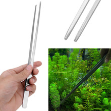 27cm Stainless Steel Aquarium Plant Cleaner Fish Pet Tank Straight Crooked Tweezer Fish Tank Cleaning Tool(China)