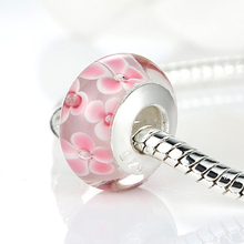 2017 New Stamp Silver Color Pink Flower European Glass Bead  Fit Bracelet Necklace Original Accessories