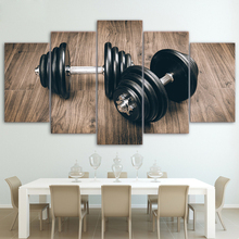 Canvas Wall Art Painting Abstract Pictures Home Decor Framework 5 Pieces Fitness Gym Sports Dumbbells Posters Oil Prints(China)