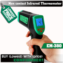 ELECALL EM380 Laser LCD Digital  Non-Contact  -32-380C 12:1 Infrared Thermometer Temperature Meter Gun Temp  0.1~0.99 Adjustable