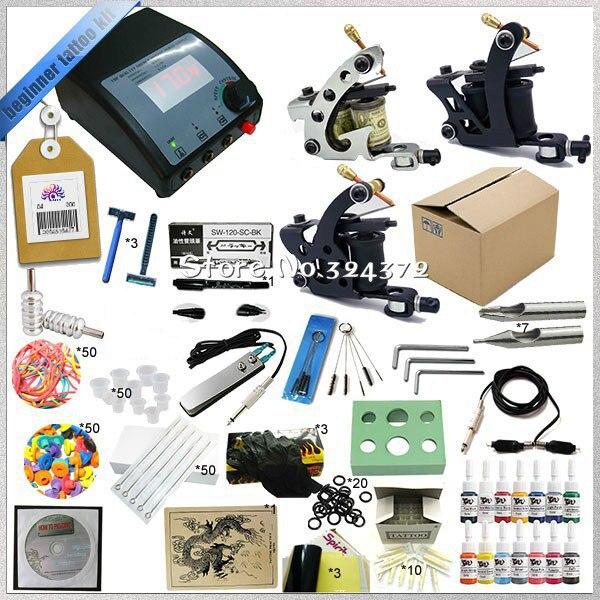 MINI kits 3 Guns tattoo kit equipments for cosmetic body art tattooing, high assembly professional rotary tattoo machine kit<br>
