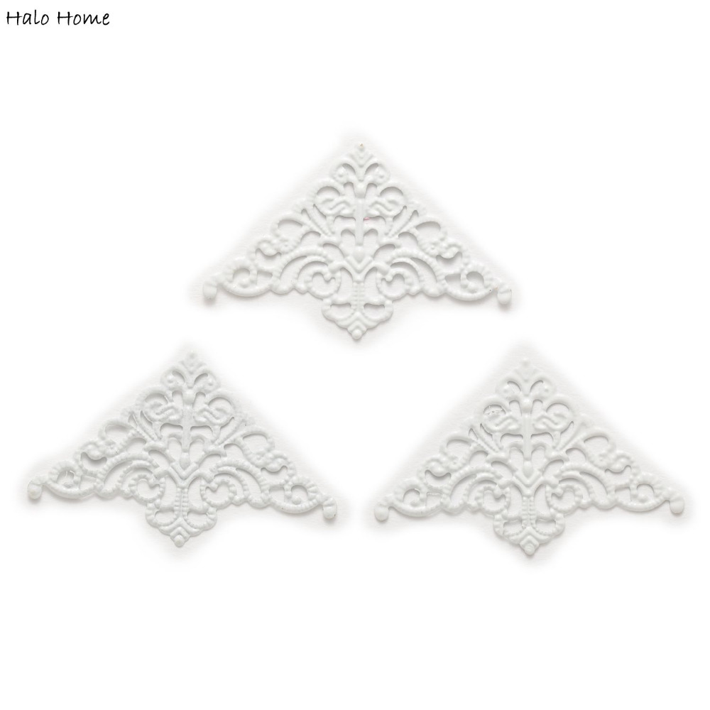 25Pcs Plating White Carved  Book Scrapbooking Corner Decorative Collar 50x32mm