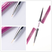 1 Pc Double-ended Nail Art Liner Brush Ultra-thin Line Draw Pen Rhinestone Nail Paint Pen Brush Rose Red Manicure Tool(China)