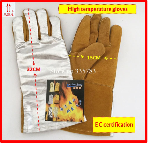 500 degrees high temperature gloves Palm Cowhide Back of hand Aluminum foil Anti-scalding work gloves megathermal welding gloves<br>