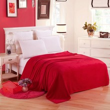 Wholesale Coral Fleece Flannel Blanket Solid Red Adult Queen King Full Size Bedspread Bedlinen Sheets Plaid Blankets on The bed(China)