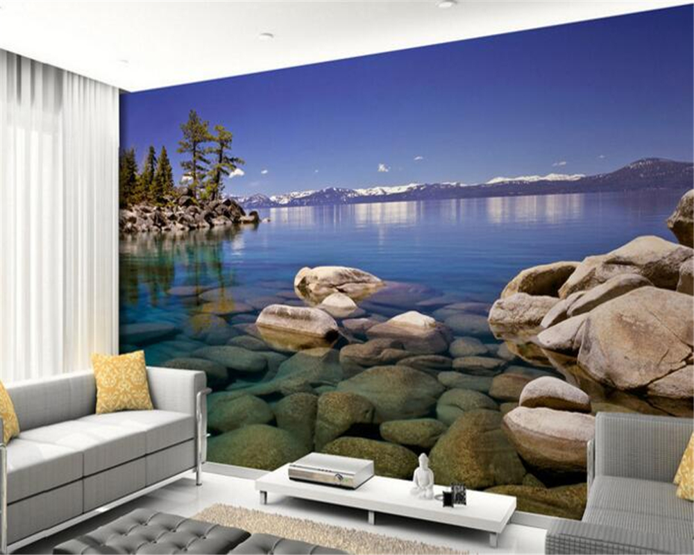 Papel de parede HD wallpapers of any size in 3D lakes stone light background mural wallpaper for walls 3 d Mural painting<br><br>Aliexpress