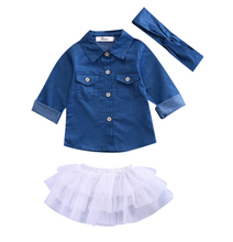 New Toddler New Kids Baby Girls Infant Long Sleeve Denim Tops Shirt Tutu Skirts +Headband 3PCS Jeans Outfits Girls Clothes Set(China)