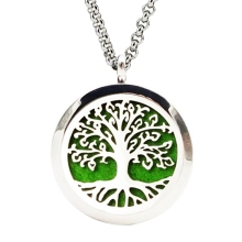 FUNIQUE Hollow Tree Life Stainless Steel Aromatherapy Essential Oil Diffuser Necklace Perfume Lockets Necklace ifts For Women