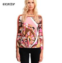 2015 Autumn High Quality Luxury Brands Designer Top Women's Long Sleeve Geometry Printed Casual Jersey Sheath Blouse(China)