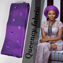 AS012 New Arrival African Aso-Oke Headtie Solid and Plain African Aso Oke with 3D flowers and beads for Party or Wedding