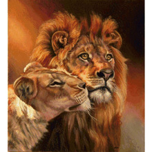 HOME BEAUTY diy oil painting by numbers wall decor picture on canvas drawing coloring by number animal oil paint lion craft J016(China)