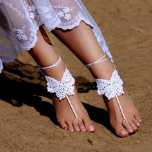 Crochet White Barefoot Sandals, Foot jewelry, Bridesmaid gift, Barefoot sandles, Beach, Anklet, Wedding shoes, Beach Wedding