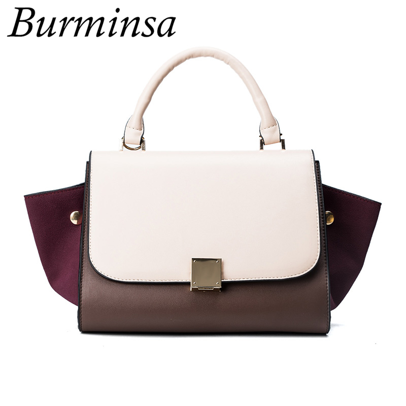 Burminsa Brand Hit Color Trapeze Bags Smiley Women Designer Handbags High Quality PU Leather Swing Shoulder Messenger Bags 2017<br>