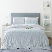 Cotton Duvet Cover Sets Blue Fish Quilt Cover 3pcs Blue Birds Beddig Set White Duvet Cover Queen Pillow Case