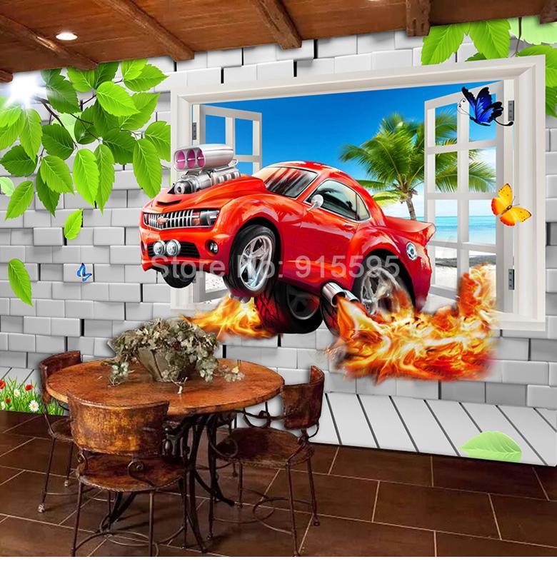 HTB1tqxCcQfb uJkHFrdq6x2IVXae - Pastoral Style Children Room Bedroom Wall Decoration Mural Wallpaper 3D Stereoscopic Window Cartoon Car Broken Wall Large Murals