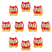 Bulk 50pcs 3D Lovely Red Owl Flatback Resin Scrapbooking Hair Bow Center Crafts Embellishment Flatback Charms Cabachons(China)