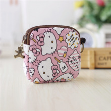 Hello Kitty Canvas Small Coin Purse Little Key Car Pouch Women's Purse Short Children Bags For Girls GIft