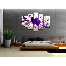 5 Pieces No Frame Canvas Painting Modern Modular Picture Wall Art Purple Hearts Canvas Paintings Wall Decor For Living Room(China)