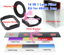 (14 IN 1) Camera Lens Filters Kit 49mm Adapter Ring LENS Hood ND Gradient Filters(China)