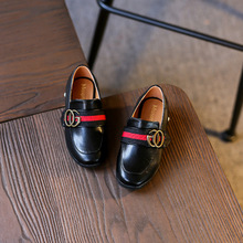 2017 New spring autumn fashion baby girl brwon loafer for boy pu leather shoes kid brand slip-on children black stud flats