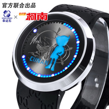 2017 New Arrival Pu Leather/Silicagel Strap Hot Anime Detective Conan Kid LED Waterproof Touch Screen Watch Comics Cartoon(China)