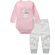 cheap 2pcs ! fashion baby girl clothes set Kids Baby Girl Bodysuit + pant Clothes Outfit Set Infantil Baby Girl Clothing Sets