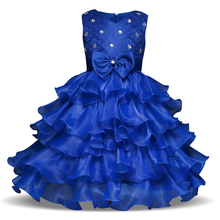 Baby Girls Kids Prom Gown Dress Little Girls Birthday Outfits Fuffly Ruffles Children's Clothing Girl Formal Wear Size 8 Year(China)