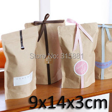 Foil lined Kraft bags with zipper for coffee packing L9cmXH14cmXW3cm