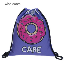 Who Cares 3D Printing Backpack Women Donut Purple Drawstring Bag Mochila Feminina Fashion daily Casual For Girl