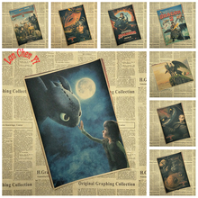How to Train Your Dragon Vintage Cartoon Anime Kraft Paper Poster Children bedroom Living Room Interior Decoration